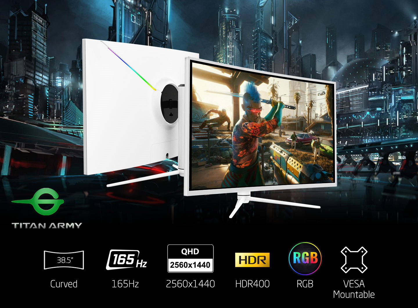 Picture of Titan Army 165Hz White Gaming Monitor