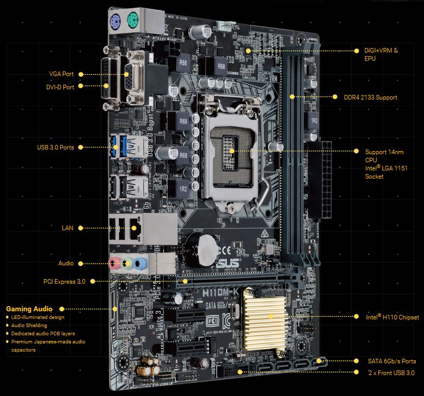 Asus H110M-K H110 mATX Socket 1151 USB3, SATA3 VGA/DVI PORTS Motherboard