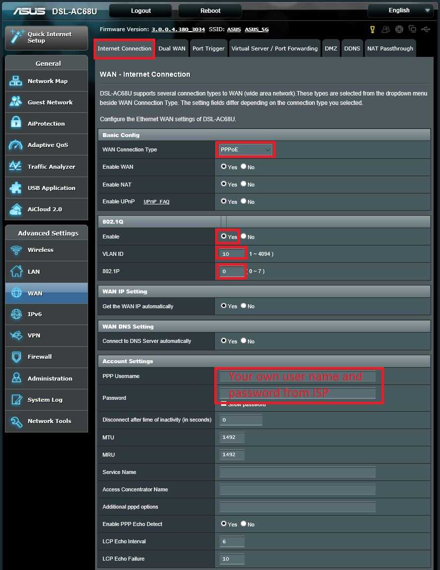 Asus Modem / Router UFB Settings - PBTech co nz