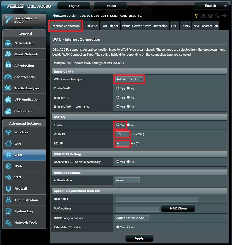 Asus Modem / Router UFB Settings - PBTech co nz