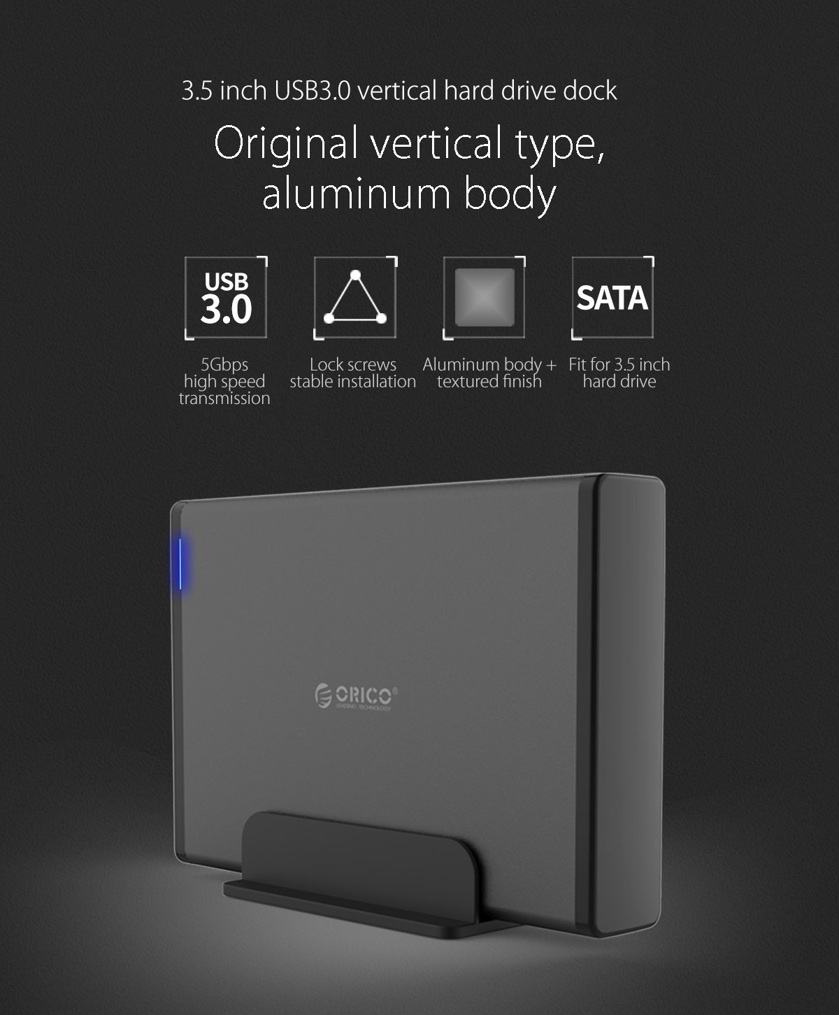 """Orico USB 3.0 3.5"""" External Hard Drive 3.5 inch Enclosure with Data Cable and Power Adapter (7688U3) BLACK"""