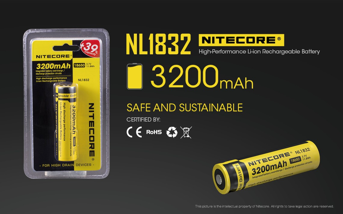 Buy The Nitecore Battery Nl1832 18650 Li Ion Rechargeable Protection Circuit Images Of And Features Integrated Overcharge Over Discharge Circuitry Which Reduces Risk Damage To Its Positive Terminal Is A