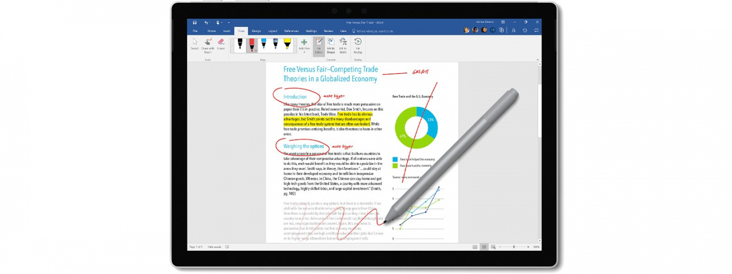 7c76a29a0f734 Windows and Office give Surface Pen more power than ever. Strikethrough  words to delete
