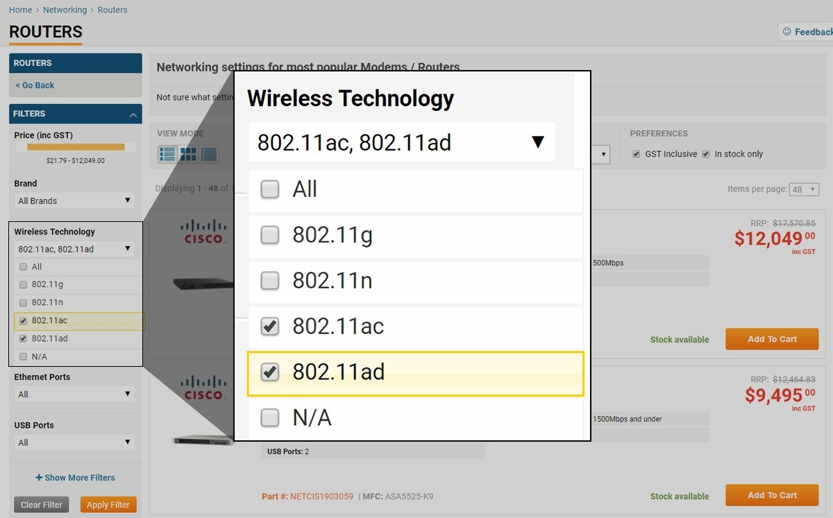 Picture of how to filter types of Wireless at PB Tech