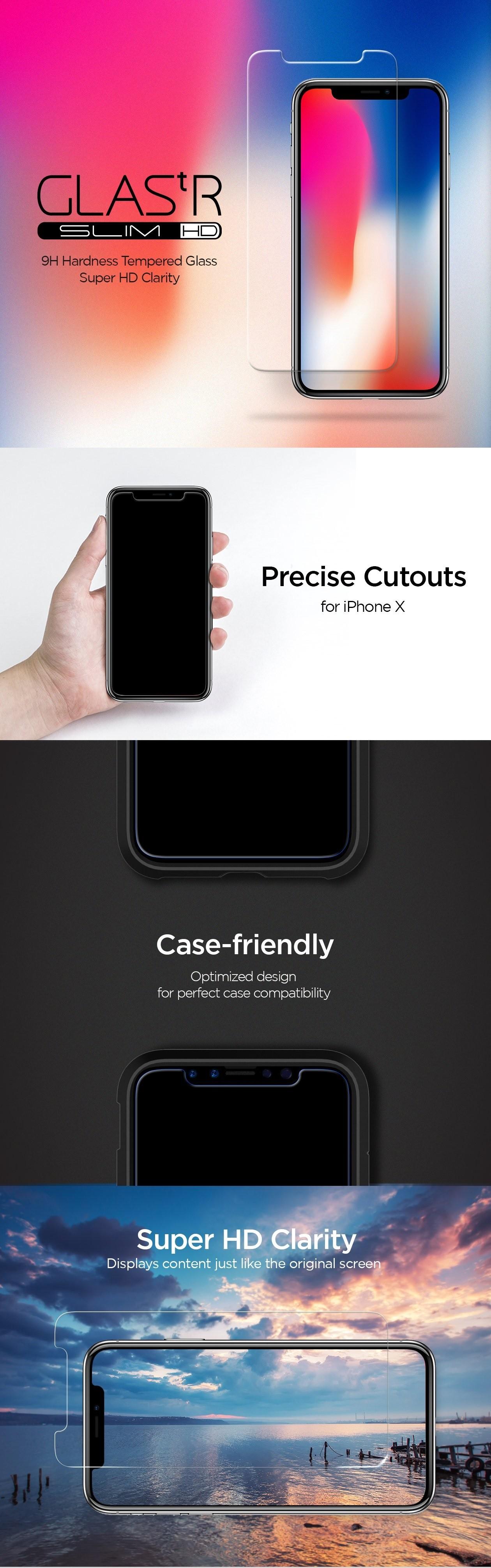 size 40 dd928 33958 Buy the Spigen iPhone XS/X Premium Tempered Glass Screen Protector Super  HD... ( 057GL22105 ) online