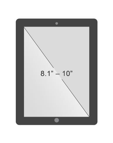 Standard tablet screen size between 8 and 10 inches