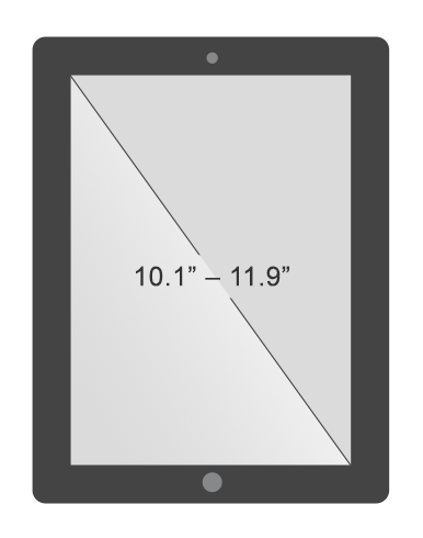 Large tablet screen size between 10 and 12 inches