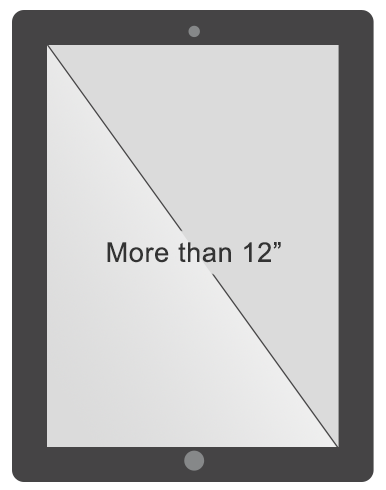 Tablet screen size greater than 12 inches