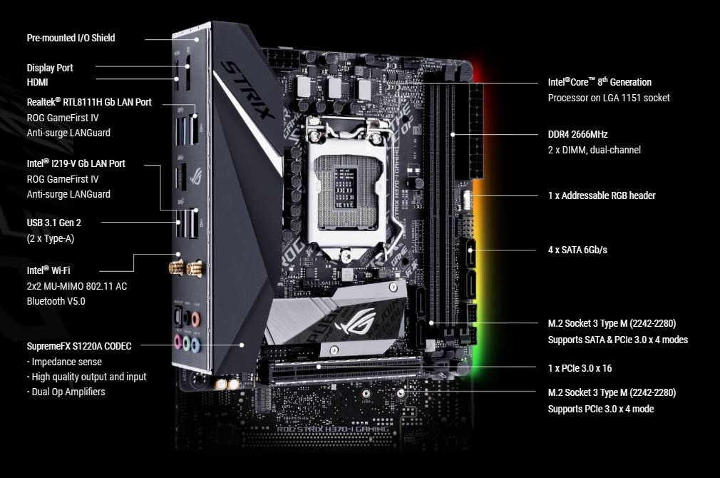 Buy the ASUS ROG STRIX H370-I GAMING MINI ITX Form, For