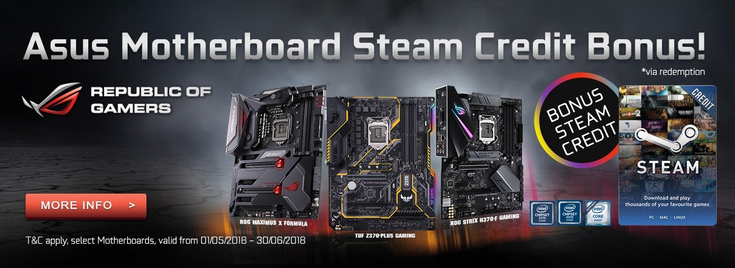 Steam Credit Bonus with Selected Asus Motherboards at PB Tech