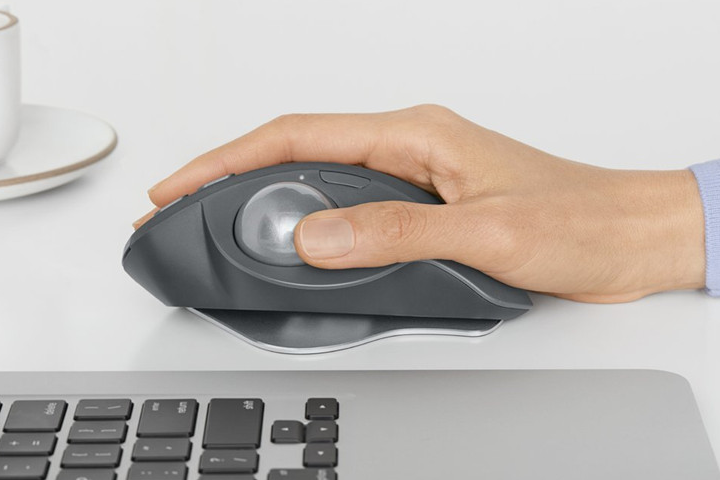Picture of ergonomic trackball mouse from the side
