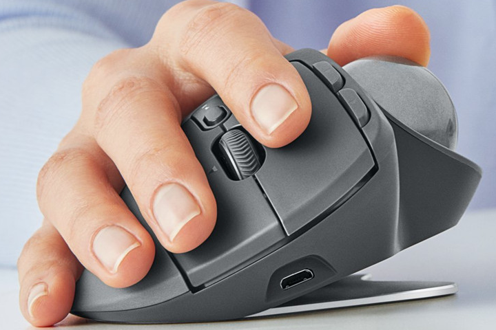 Picture of ergonomic mouse from the front