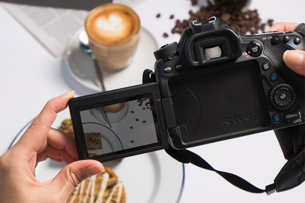 Picture of the picture that a Canon Camera is taking photos of coffee and food
