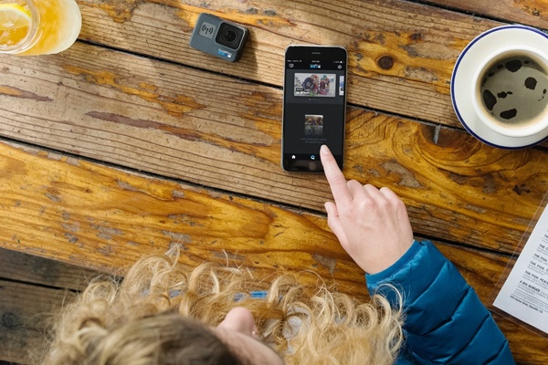 GoPro camera connected to phone for sharing