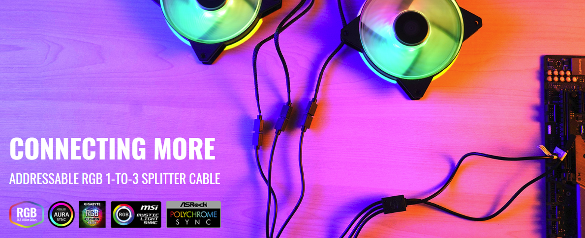 Buy the Cooler Master Addressable RGB Trident Fan cable (1-to-3) for    (  MFX-AWHN-3NNN1-R1 ) online