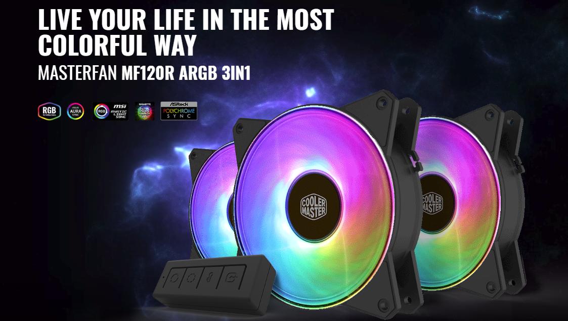 Buy the Cooler Master MasterFan 3 in 1 Kit Addressable PWM RGB FAN 3x    (  R4-120R-203C-R1 ) online