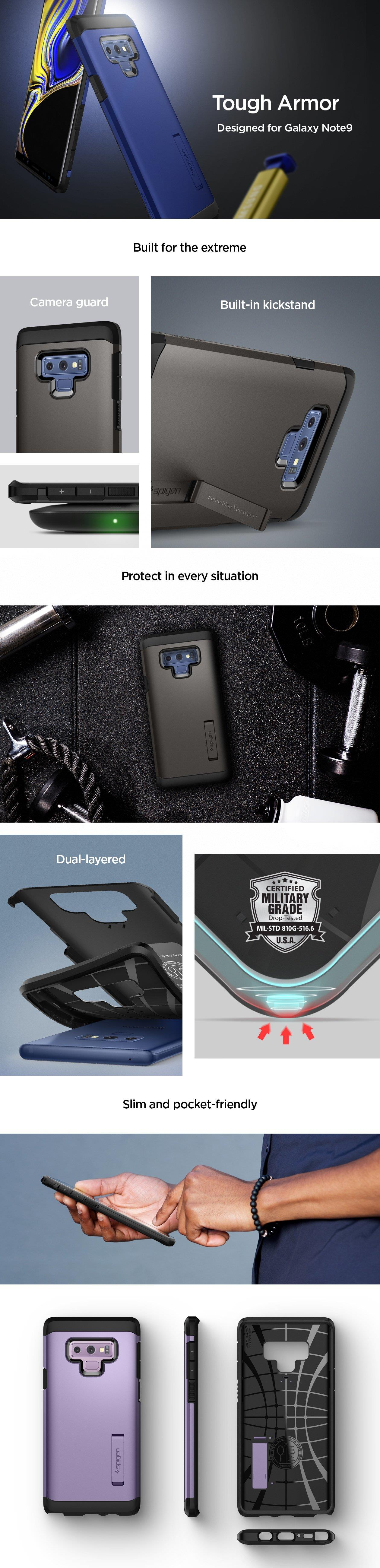 Buy The Spigen Galaxy Note 9 Tough Armor Case Black Drop Tested Wallet S Leather Built In Kickstand For Easy Hands Free Viewing Mil Grade Certified With Air Cushion Technology Access To Pen Precise Cutouts