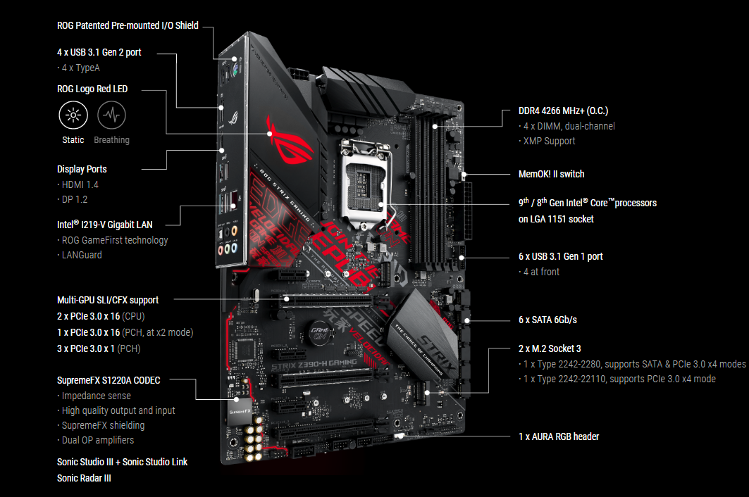 Buy The Asus Rog Strix Z390 H Gaming Atx Form For Intel 8th 9th Gen Cpu Rog Strix Z390 H Gaming Online Pbtech Co Nz