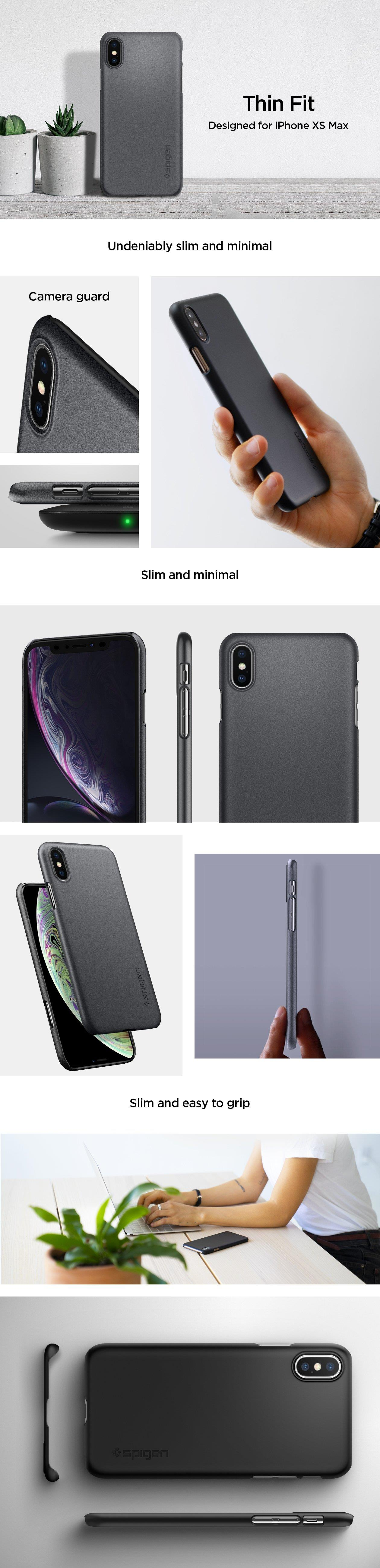 Buy The Spigen Iphone Xs Max 65 Thin Fit Caseblack Exact Case Robot 5g 5s Precise Cutouts And Tactile Buttons Ensure Quick Access Feedback Compatible With Glastr Screen Protector