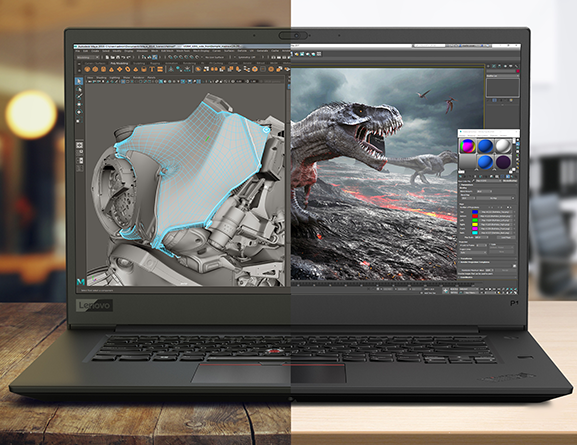 Two shots - one gaming, one video - how the ThinkPad P1 can be used for entertainment, too
