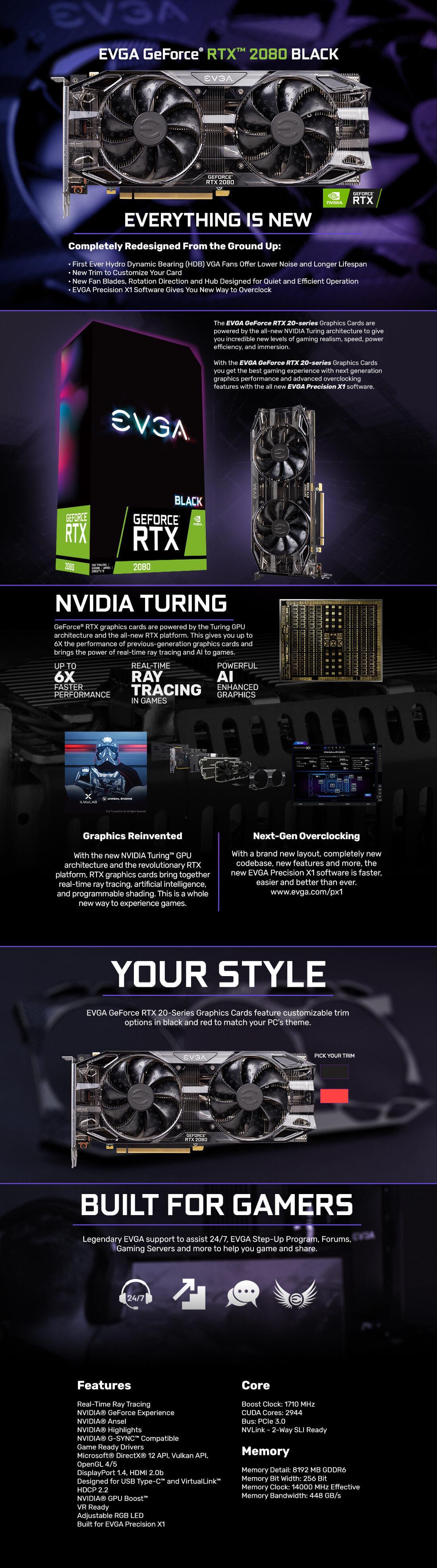 Buy the EVGA Geforce RTX 2080 Black Edition 8GB GDDR6 Gaming