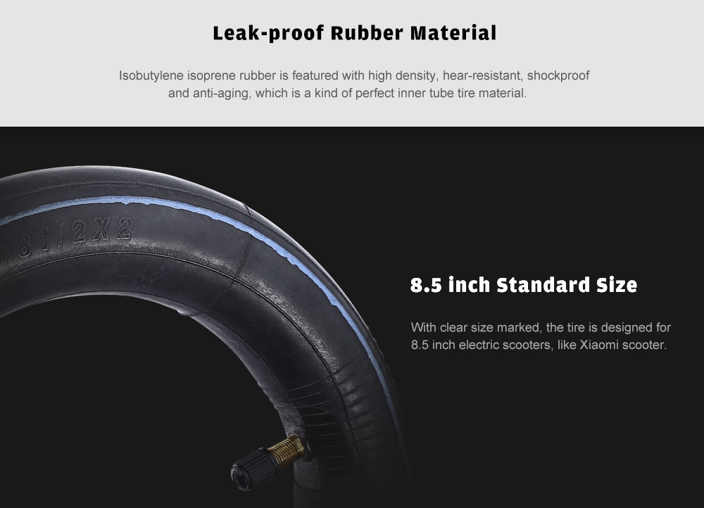 8.5 inch Rubber Inflatable Inner Tube Tire for Xiaomi Electric Scooter- Black