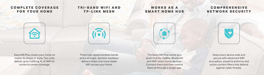 Buy the TP-Link Deco M9 Plus Whole-Home Mesh Wi-Fi System - 2 Pack