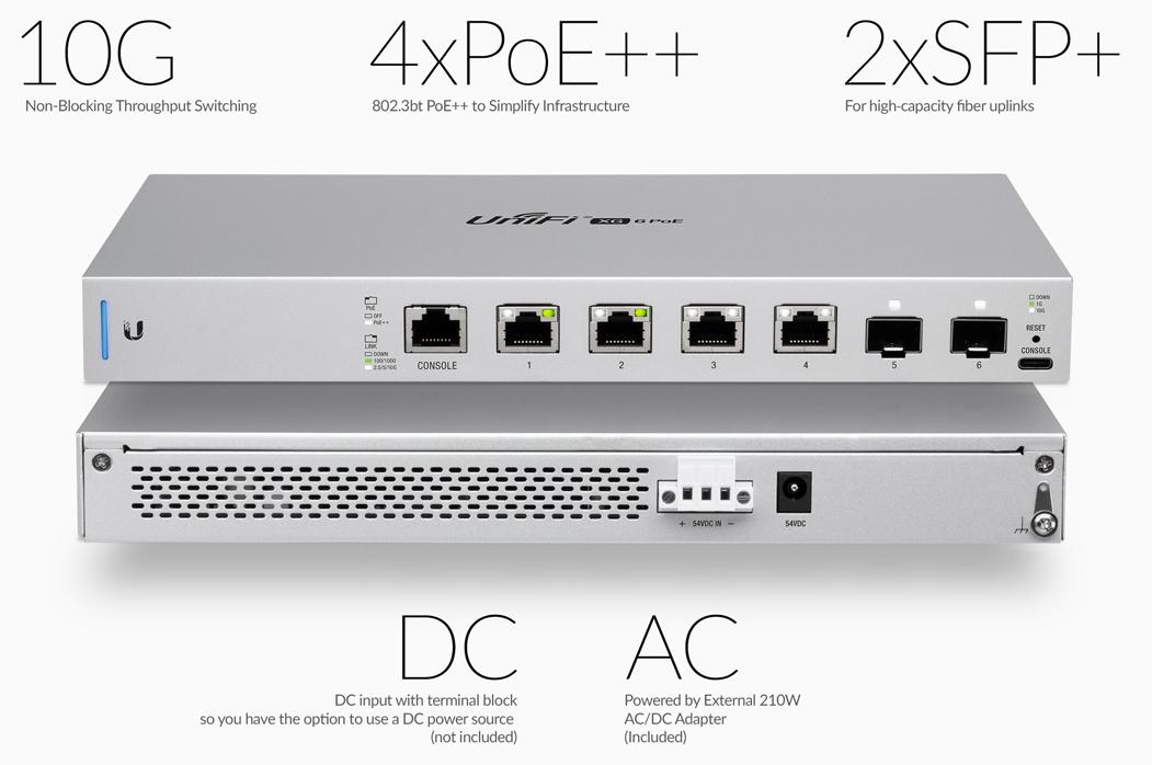 Buy the Ubiquiti UniFi XG Switch US-XG-6POE 6 Ports 10