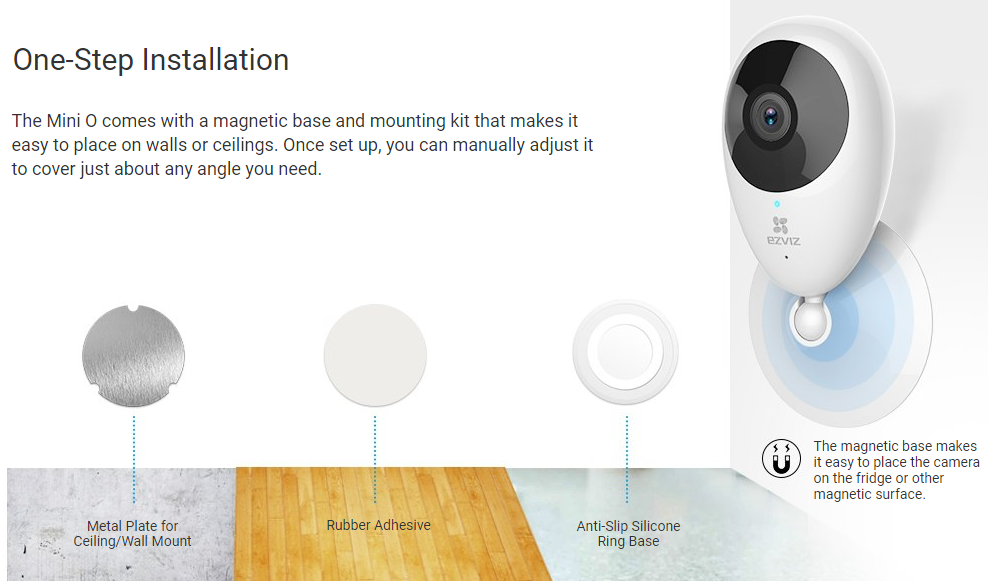 Buy the EZVIZ Mini O Indoor Cloud Wi-Fi IP Camera, 720p/H 264, 90°  Viewing    ( CS-CV206-C0-1A1WFR ) online