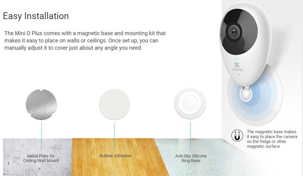 Buy the EZVIZ Mini O Plus Indoor Cloud Wi-Fi IP Camera, 1080p/H 264,  180°    ( CS-CV206-C0-3B2WFR ) online