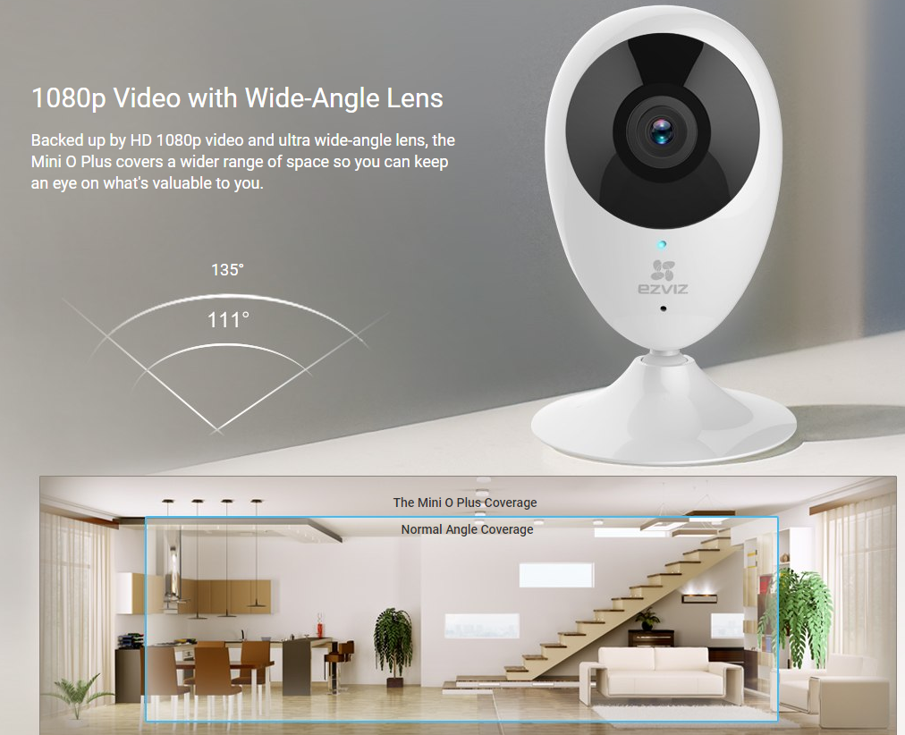 Buy the EZVIZ Mini O Plus Indoor Cloud Wi-Fi IP Camera, 1080p/H 264,  180°    ( CS-CV206-C0-3B2WFR ) online