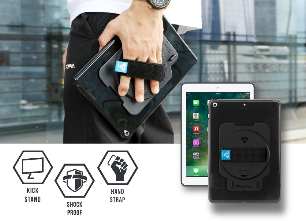 ARMOR-X Apple IPad 9.7 ( 2017 / 2018 / 6th Gen. ) shockproof case 3-in-1 with kick stand, hand strap and shoulder strap.