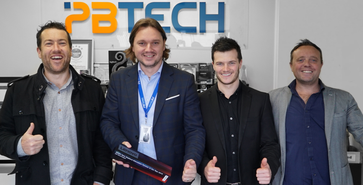 Picture of PB Tech Education team with Lenovo 2019 Partner of the year award 2019
