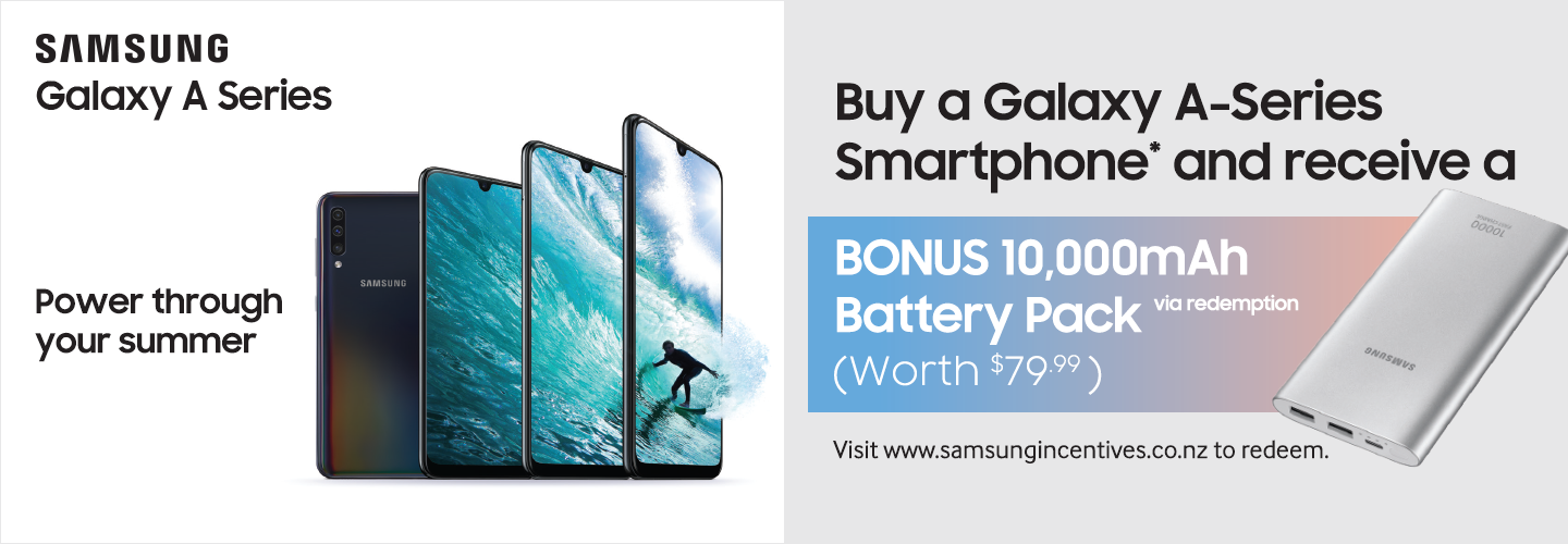 Bonus 10,000mAh battery pack with a Samsung Galaxy A series purchase PB Tech promotion