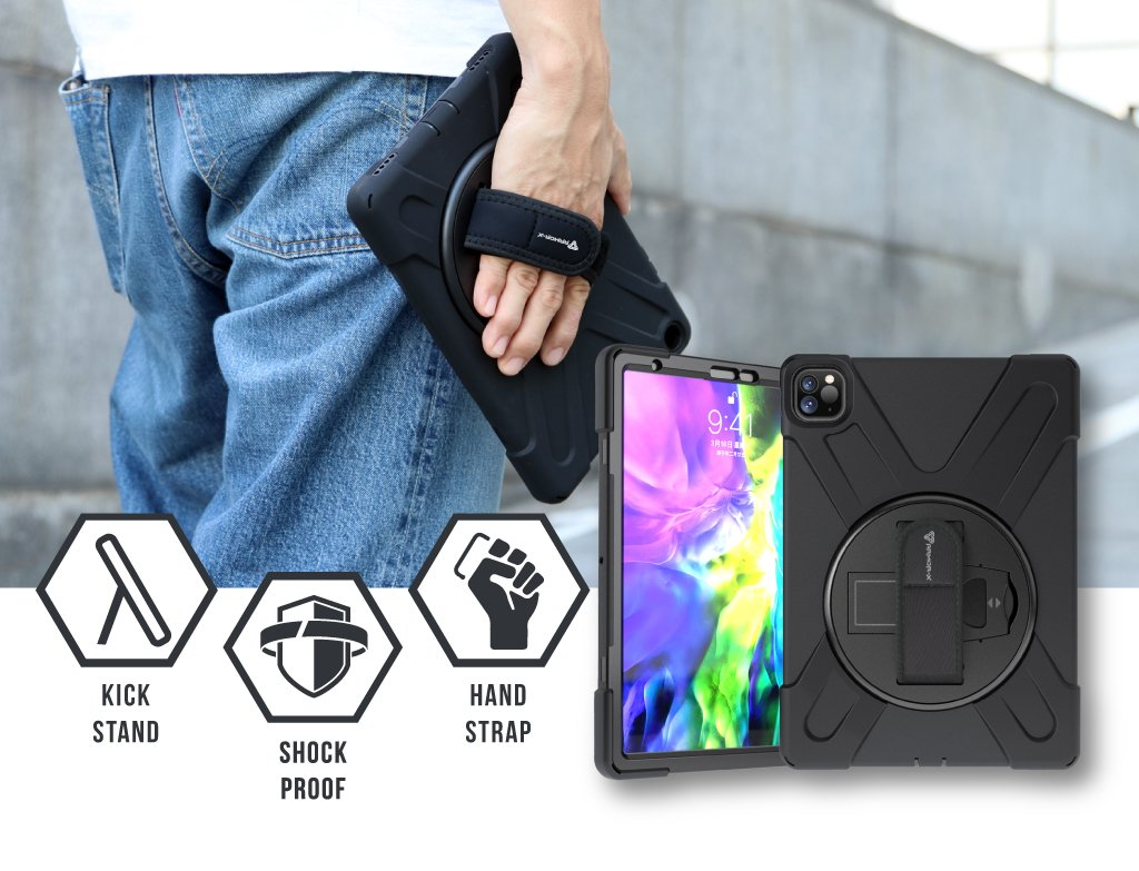armor x Apple iPad Pro 11 ( 2nd Gen ) 2020 Ultra 3 layers shockproof rugged case with hand strap and kick stand
