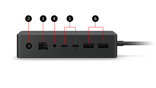 Drawing of Surface Dock 2, with key features marked with numbers 2 through 6 to correspond to the text key following the image.