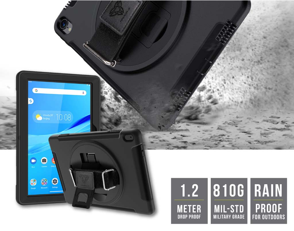 Armor X Lenovo M10 FHD REL rainproof military grade rugged case with hand strap and kick stand