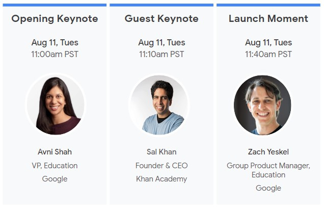 Speakers at Google's Anywhere School virtual event