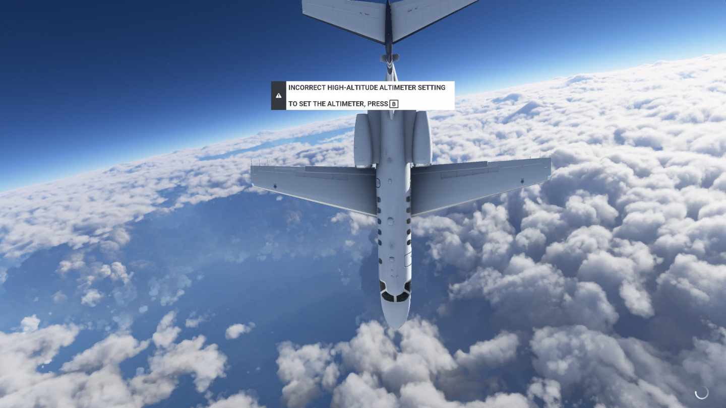 Picture of message that appears in flight simulator when you move your plane using Y