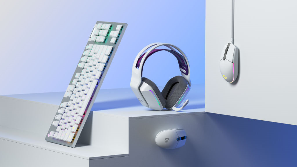 Picture of G733 Headset in white with G203 and G305 gaming mice