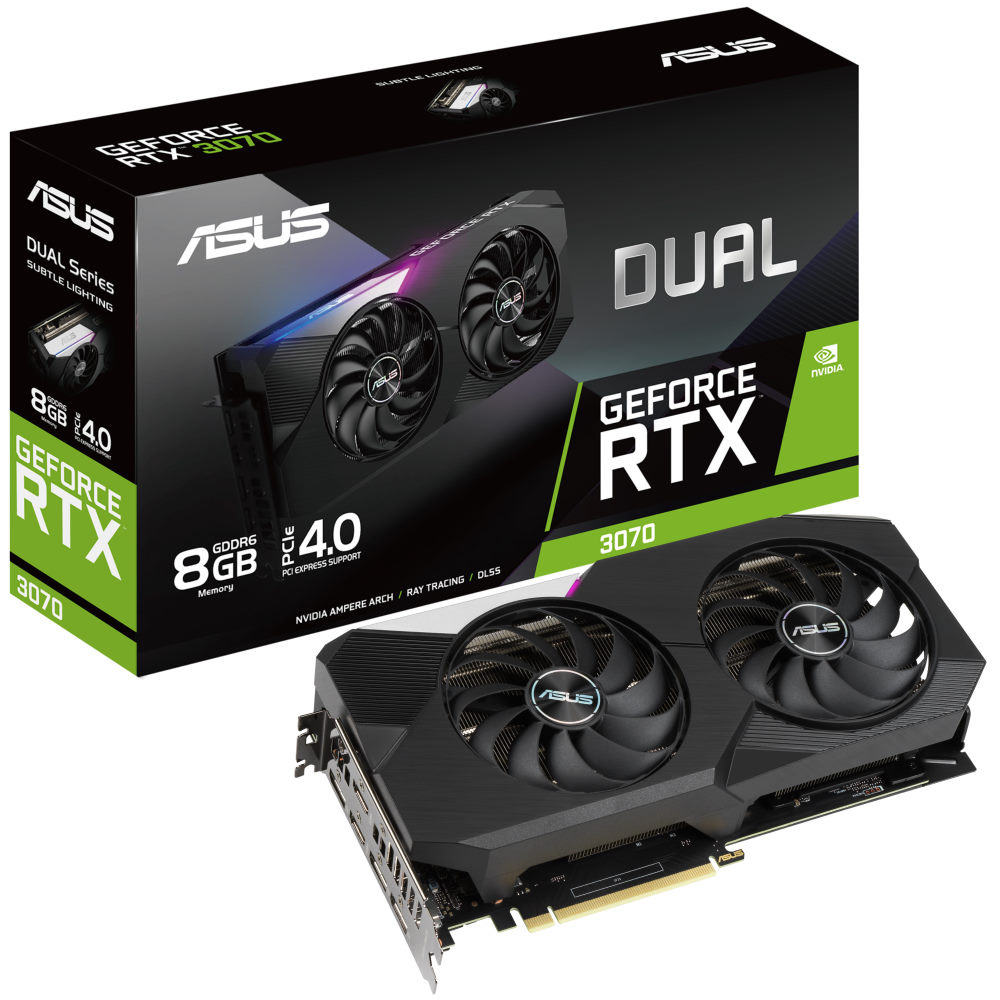 The Asus Dual RTX 3070 Graphics Card and box