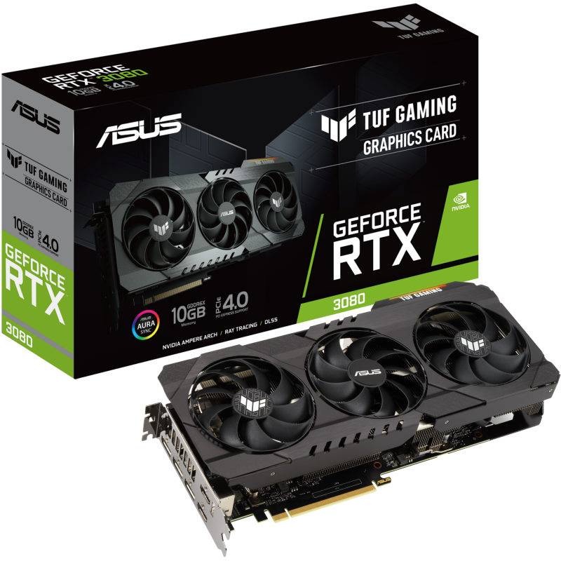 The Asus TUF RTX 3080 Graphics Card and box