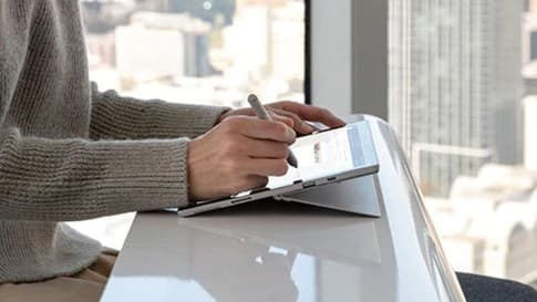 Surface with a stylus