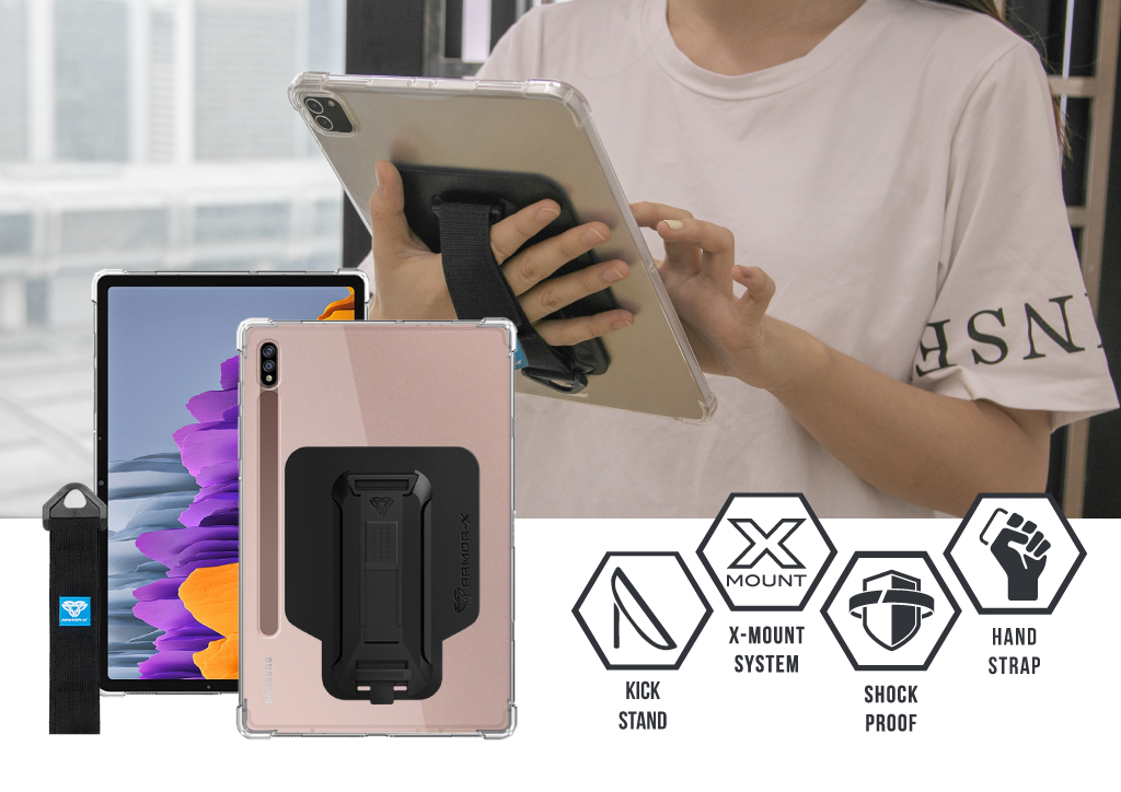 ARMOR-X Samsung Galaxy Tab S7 T870 T875 shockproof case 4-in-1 with kick stand, hand strap and shoulder strap.