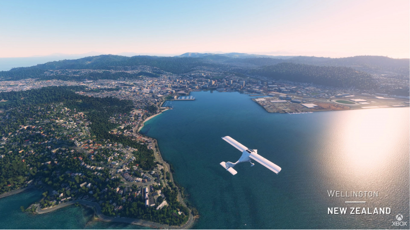 Picture of Flight Simulator pilot approaching Wellington CIty in New Zealand