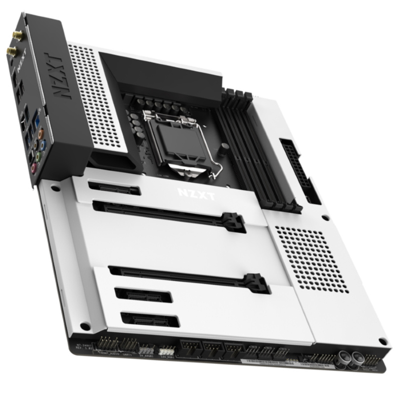 Picture of NZXT Z490 motherboard in white