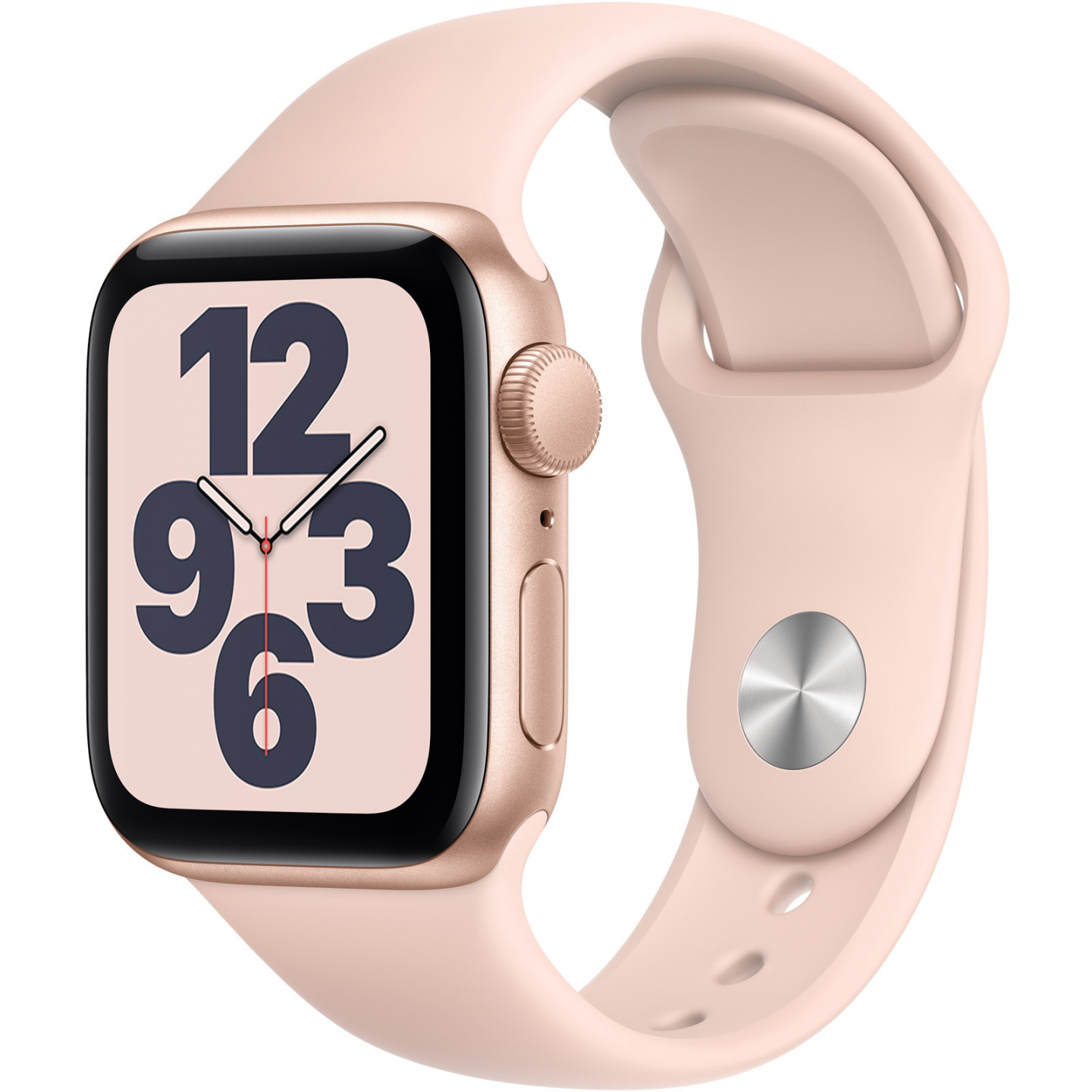 Picture of Apple Watch in Gold with pink strap