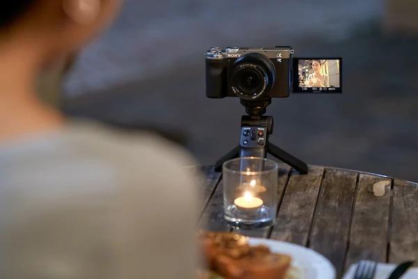 Camera with digital display facing forward