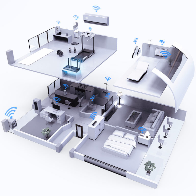 Picture showing a range of connected devices in a modern home