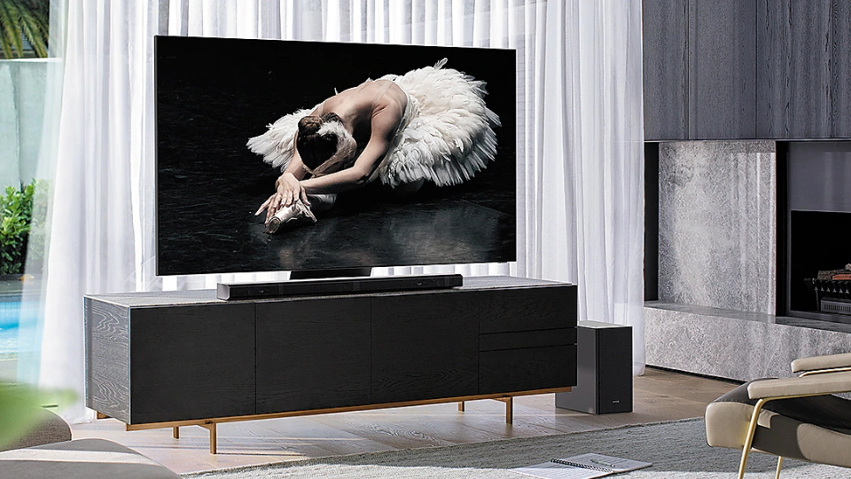 Picture of Samsung 8K TV in a modern living room